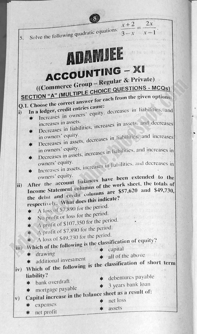Accounting Guess Papers Commerce Group XI 2013