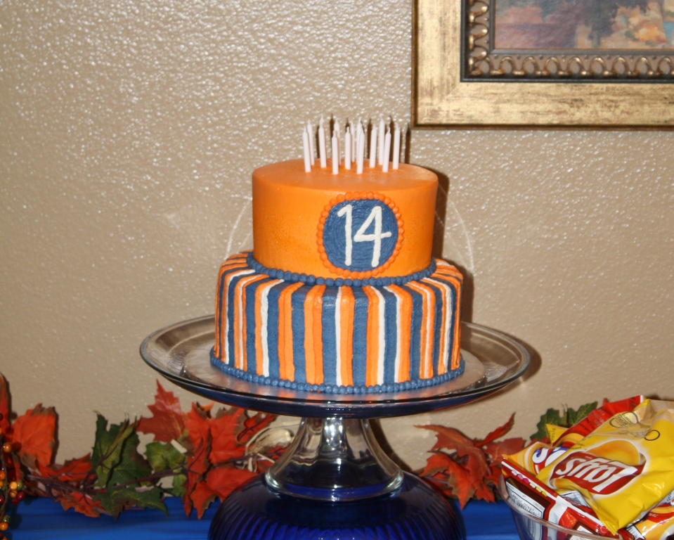 Party Cakes Orange And Blue Striped Birthday Cake