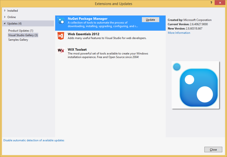 How to update NuGet Package Manager (NPM) in Visual Studio