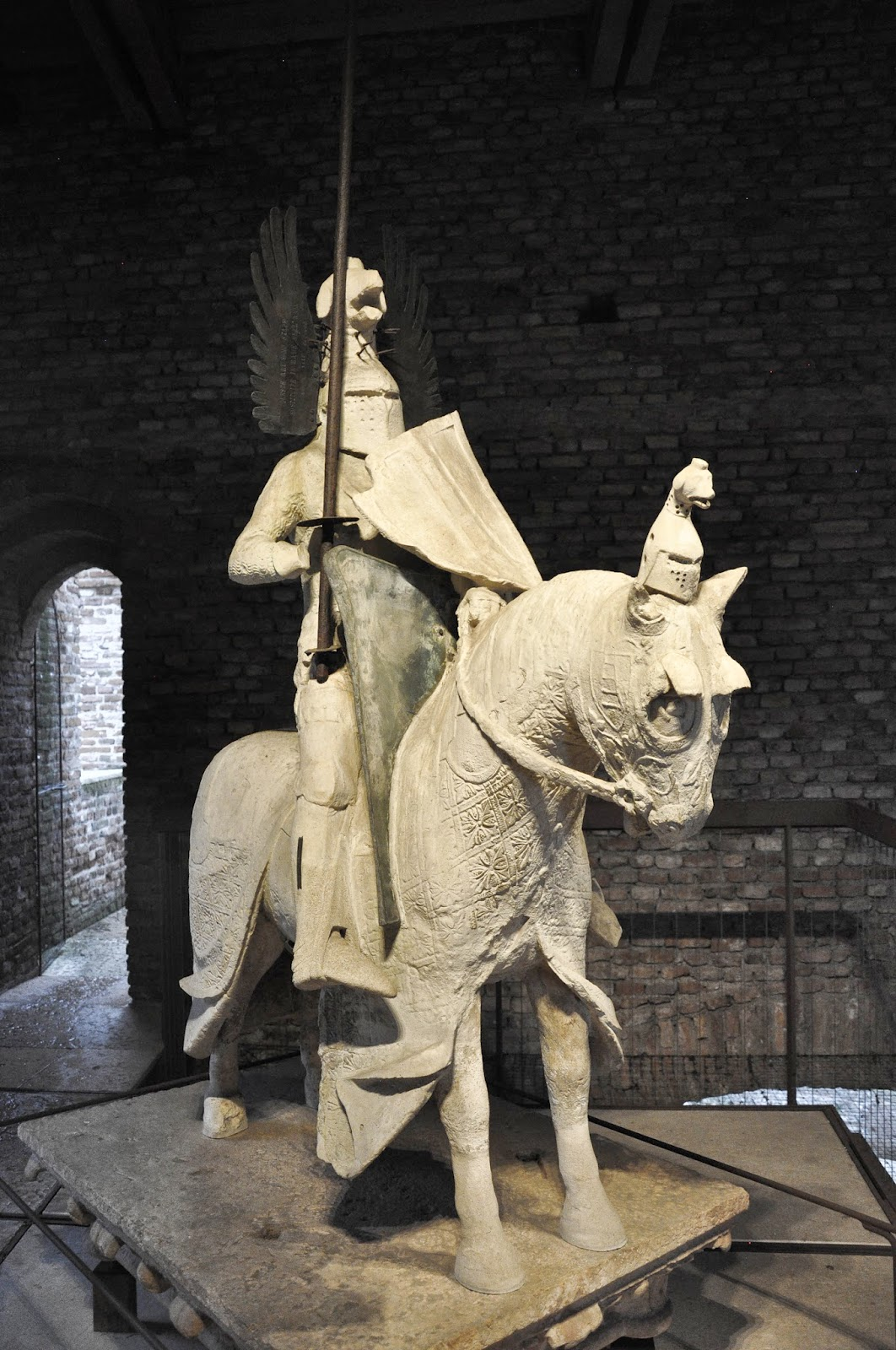 A knight in full armour in Castelvecchio in Verona