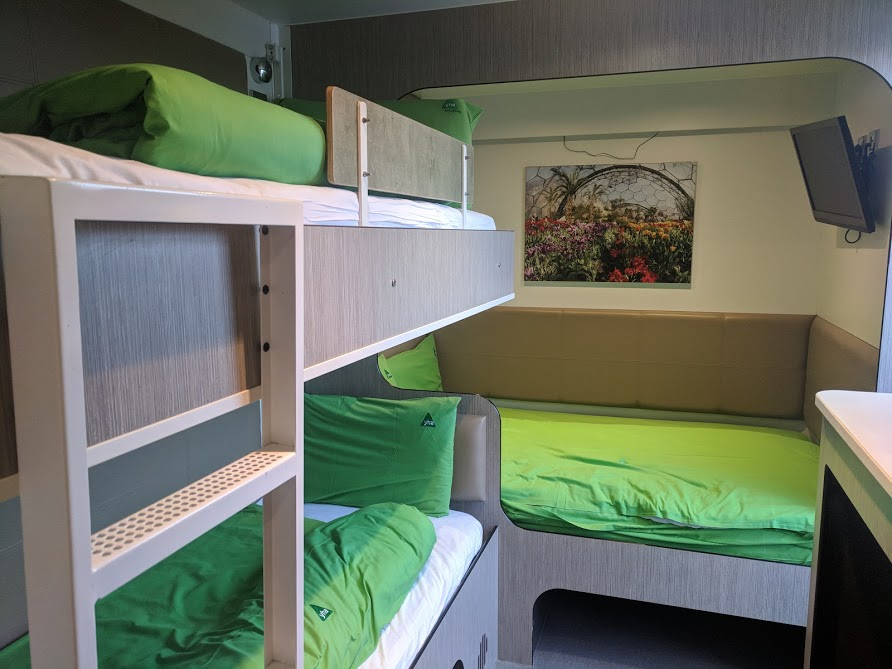 Staying in a Recycled Shipping Container at The Eden Project - YHA Eden Project Review - bunk beds