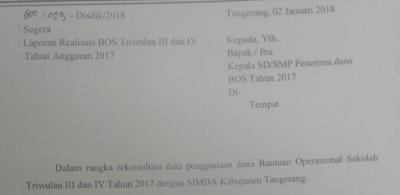 Surat edaran disdik Kab. Tangerang