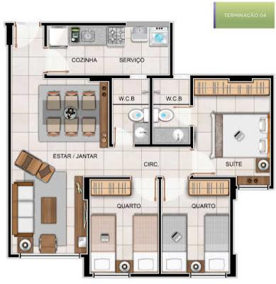 Este apartamento tipo 02 também será composto de: 03 quartos / 01 suíte, sala de estar e jantar, cozinha, área de serviço, banheiro social, 1 vaga de garagem.