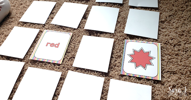 Learning colors matching game red