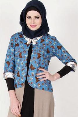 Baju blazer kombinasi batik remaja muslim