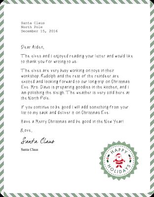 Santa Mail Reply