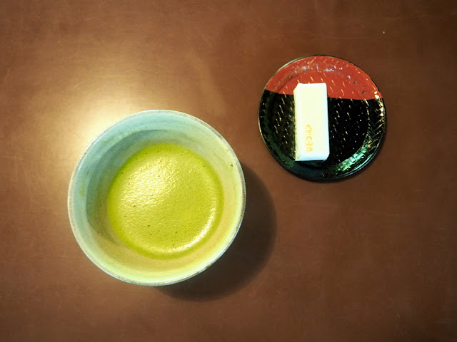 Green tea & cake at Okochi Sanso villa, Arashiyama, Kyoto, Japan