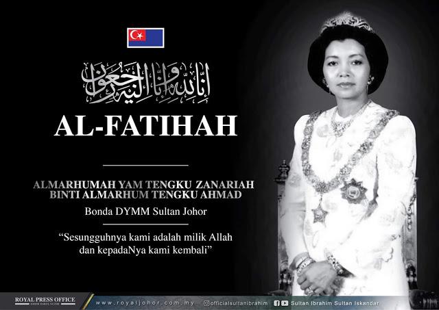 Kemangkatan Bonda tiri Sultan Ibrahim, YAM Tengku Puan Zanariah Almarhum Tengku Ahmad