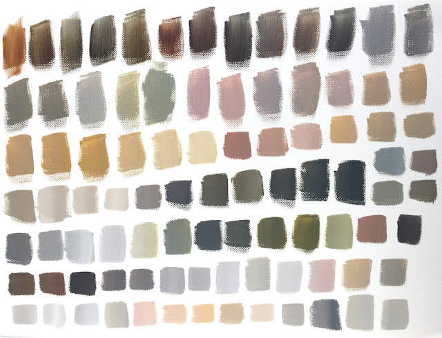 acrylic paint neutral swatches mixed from primaries plus white and black