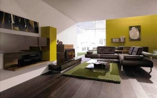 sala marrón y verde