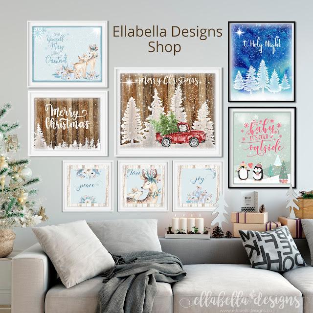 Christmas Wall Art Digital Printables by Ellabella Designs
