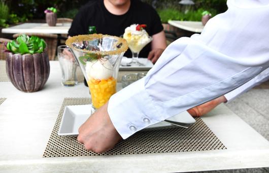 Eis im hoteleigenen Park des Van der Valk Hotels genießen