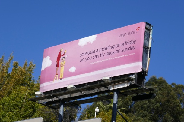 Virgin Atlantic Friday meeting billboard