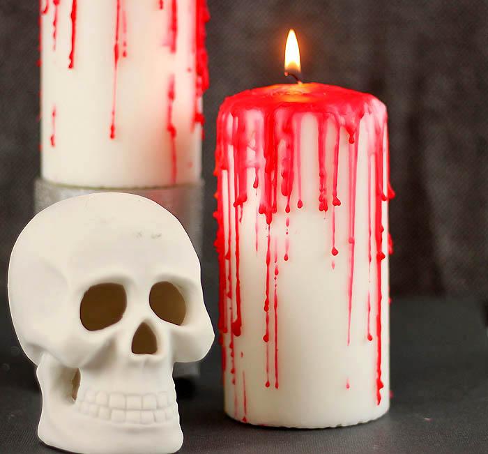 DIY Halloween Horror Bloody Candles