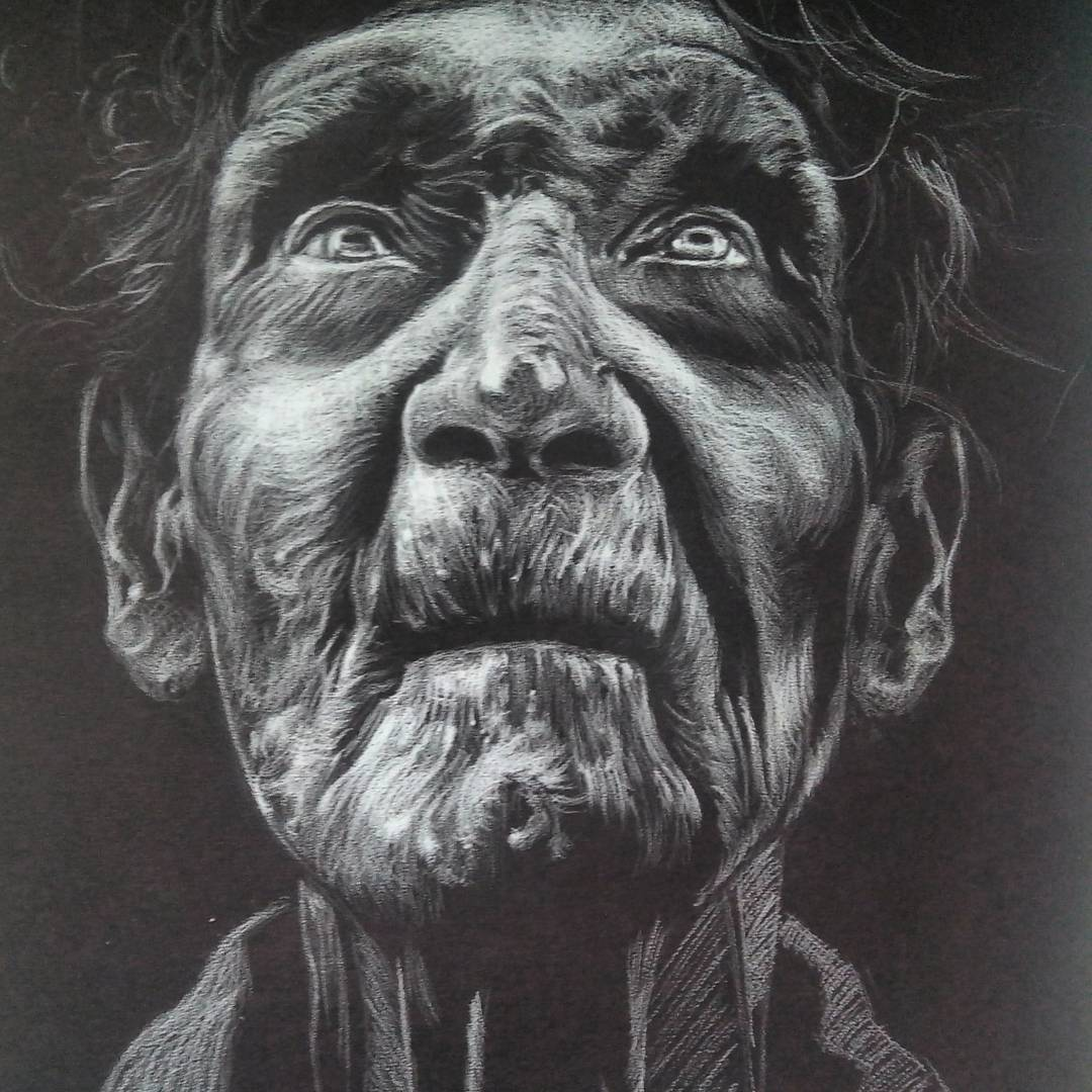 Moises Hodge. Anciano (pencil on paper). 2015