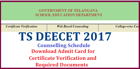 TS DEECT 2019 Admission Certificate Verification Admit card