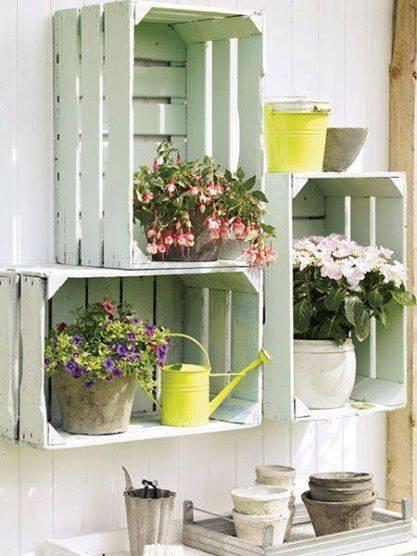 reutilizar caixotes de madeira jardim nicho plantas