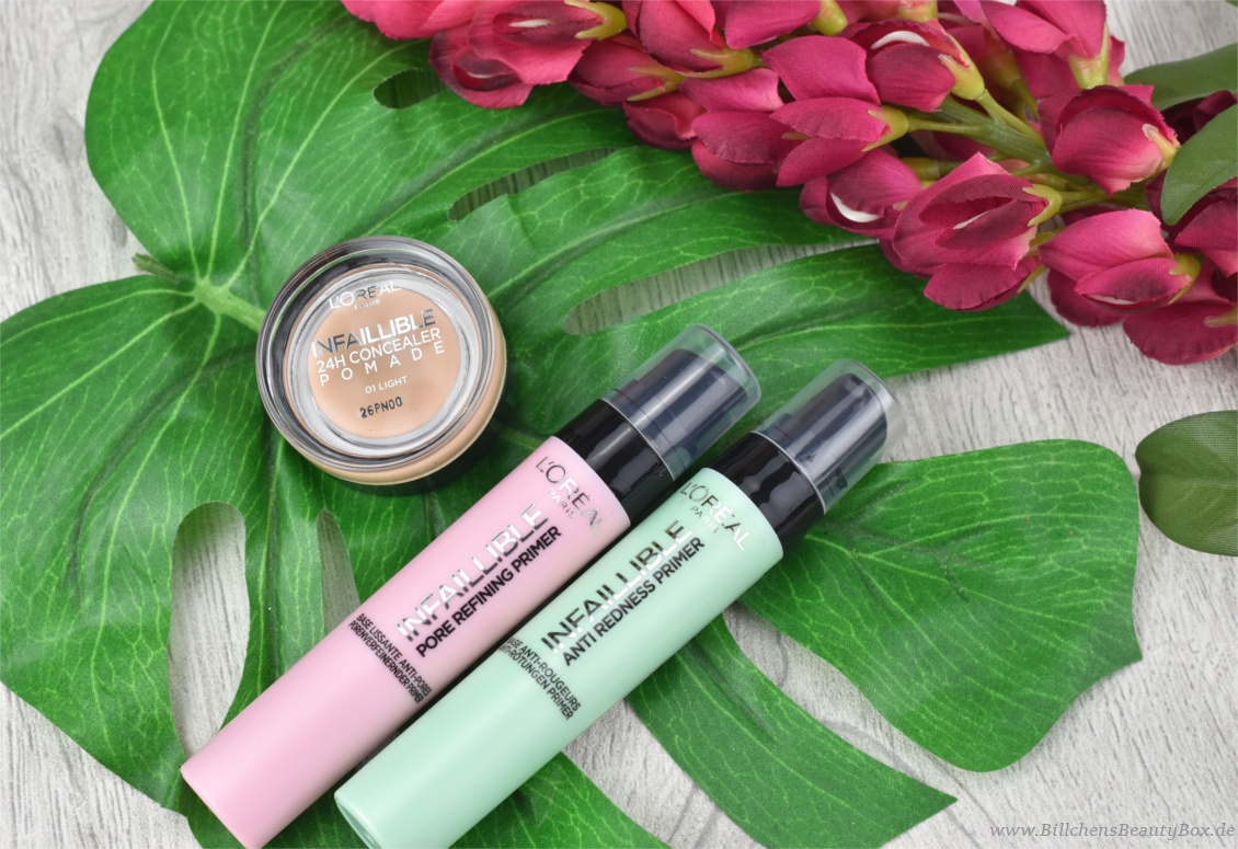 L'Oréal INFAILLIBLE Primer und 24H Concealer Pomade - Review und Swatches