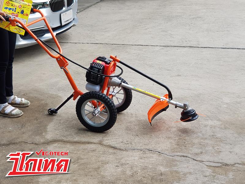 เครื่องตัดหญ้ารถเข็น 2 ล้อ น้ำมันเบนซิน 2จังหวะ 2.4แรงม้า