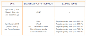 Banco de Oro (BDO) Bank Schedule