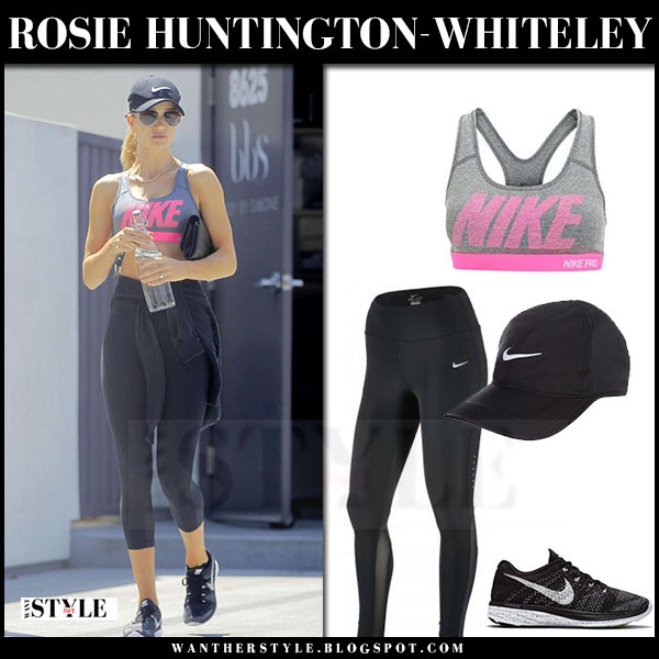 Rosie Huntington-Whiteley in grey pink nike performance sports bra and black nike epic lux leggings what she wore