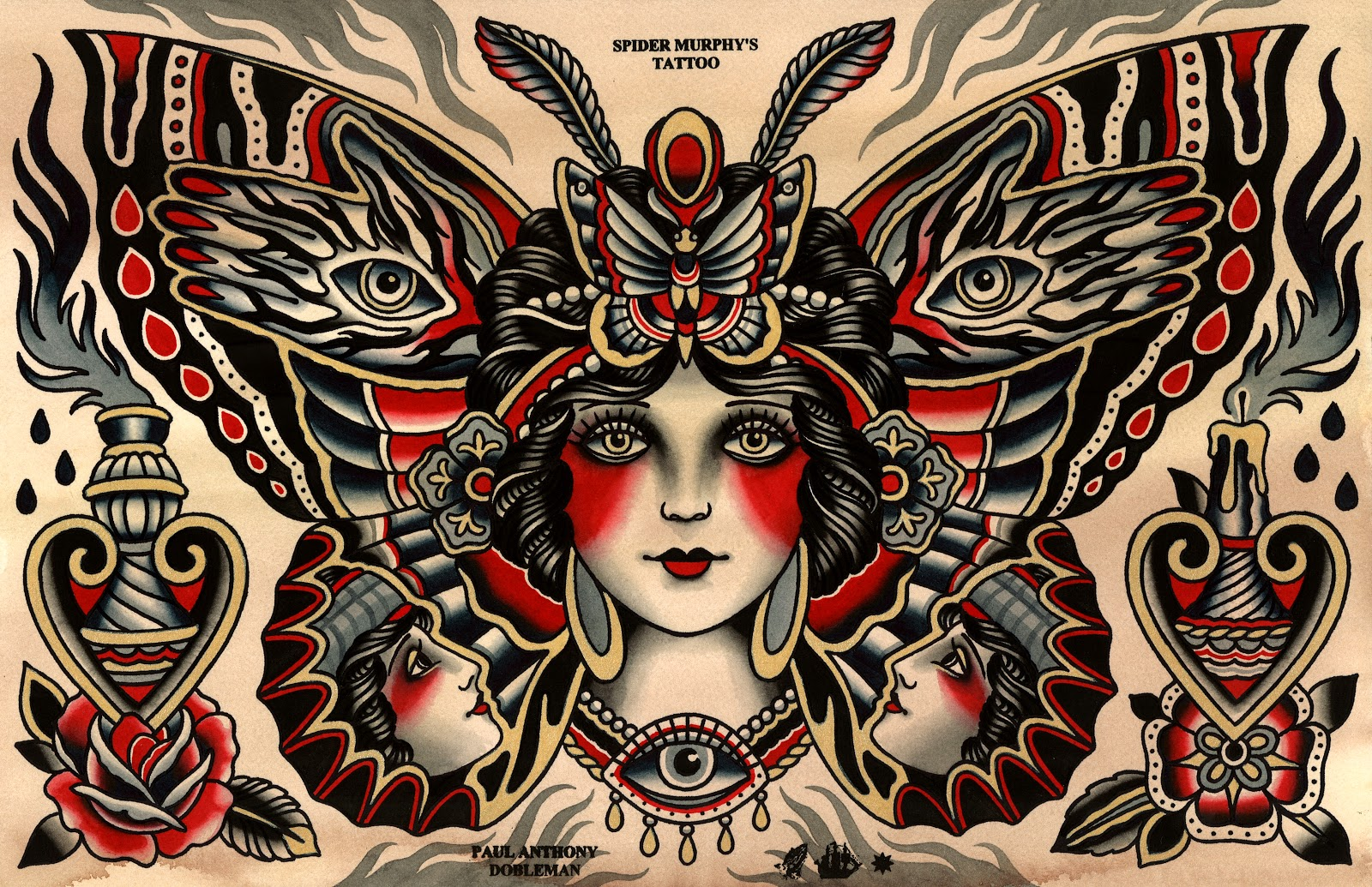 Traditional Butterfly Tattoo Flash: Paul Anthony Dobleman: New Print Available