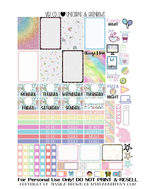 Free Printable I Heart Unicorns & Rainbows Sampler for the Vertical Carpe Diem Insers from myplannerenvy.com