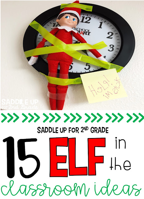 The Elf On The Shelf Christmas craze is bigger than ever. This blog post features 15 ideas to use with your elf on the shelf in your classroom.