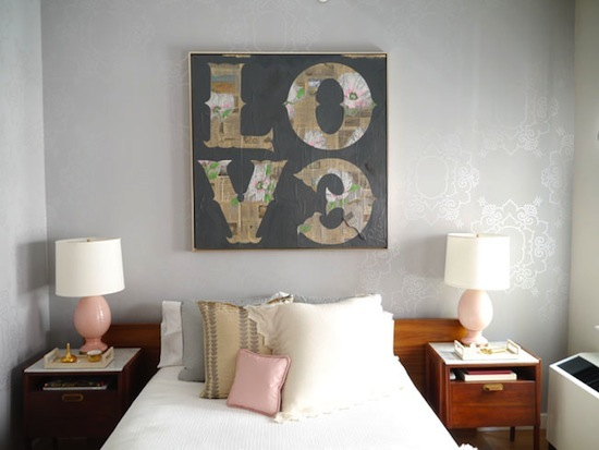 LOVE print over mid-century modern furniture, bedroom