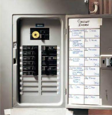 Instalaciones eléctricas residenciales - Circuitos marcados en la tapa del gabinete