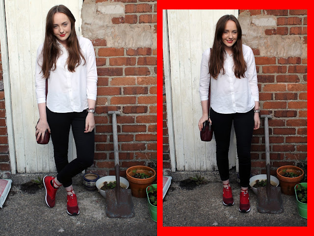 outfit of the day featuring white topshop shirt, black river island skinny jeans, aubergine cross body bag and red lacoste freeglide trainers