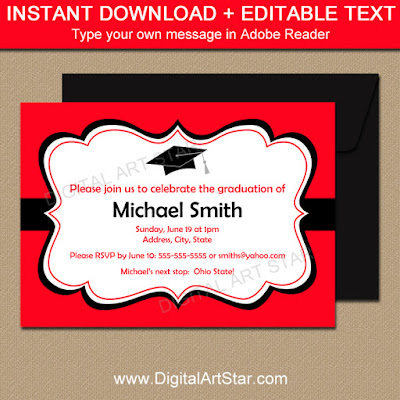 high school graduation party invitations with editable text in red and black