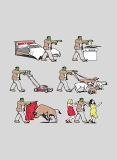 Image: Rectangle Refrigerator Magnet - Zombie Monster Daily Life Cooking, Walking Dogs, Mowing Lawn, Bullfighting, Dancing