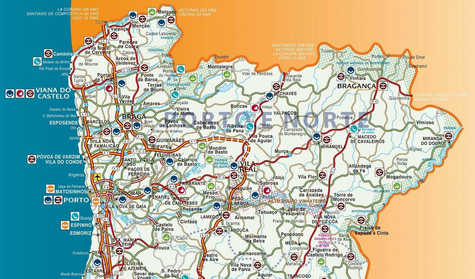 mapa norte de portugal turismo Mapas de Guimarães   Portugal | MapasBlog mapa norte de portugal turismo