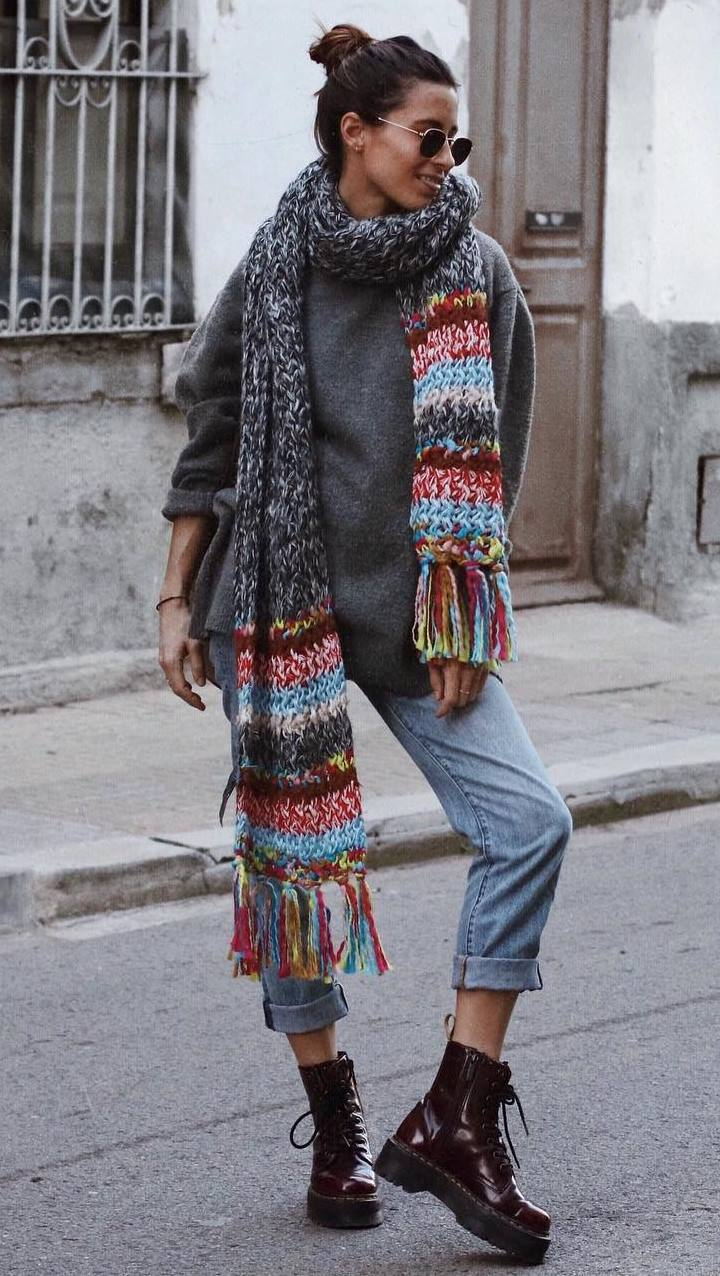 how to wear a knit scarf : grey cashmere sweater + jeans + burgundy boots
