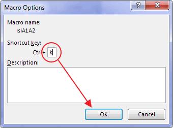 Menjalankan sub procedure dengan shortcut