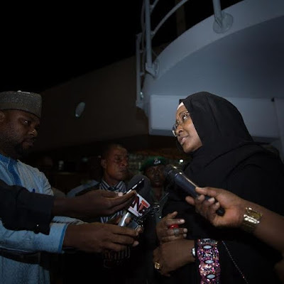 5 - Mrs Aisha Buhari returns from the UK after visit with husband, relays the president's message to Nigerians (photos)