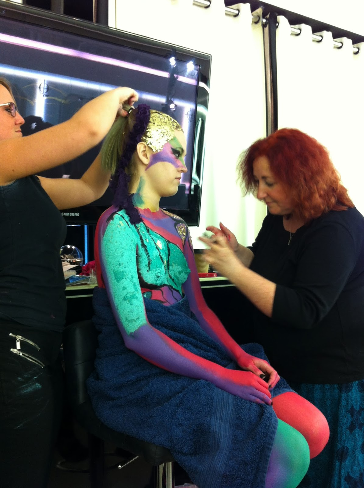JT makeup body painting at Illamasqua