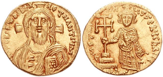 Sólido de Justiniano II con retrato de Cristo