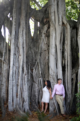 fort myers engagement with banyan tree