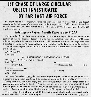 Jet Chase of Large Circular Object Investigated By Far East Air Force (Crpd) - UFO Investigator Aug-Sept 1957