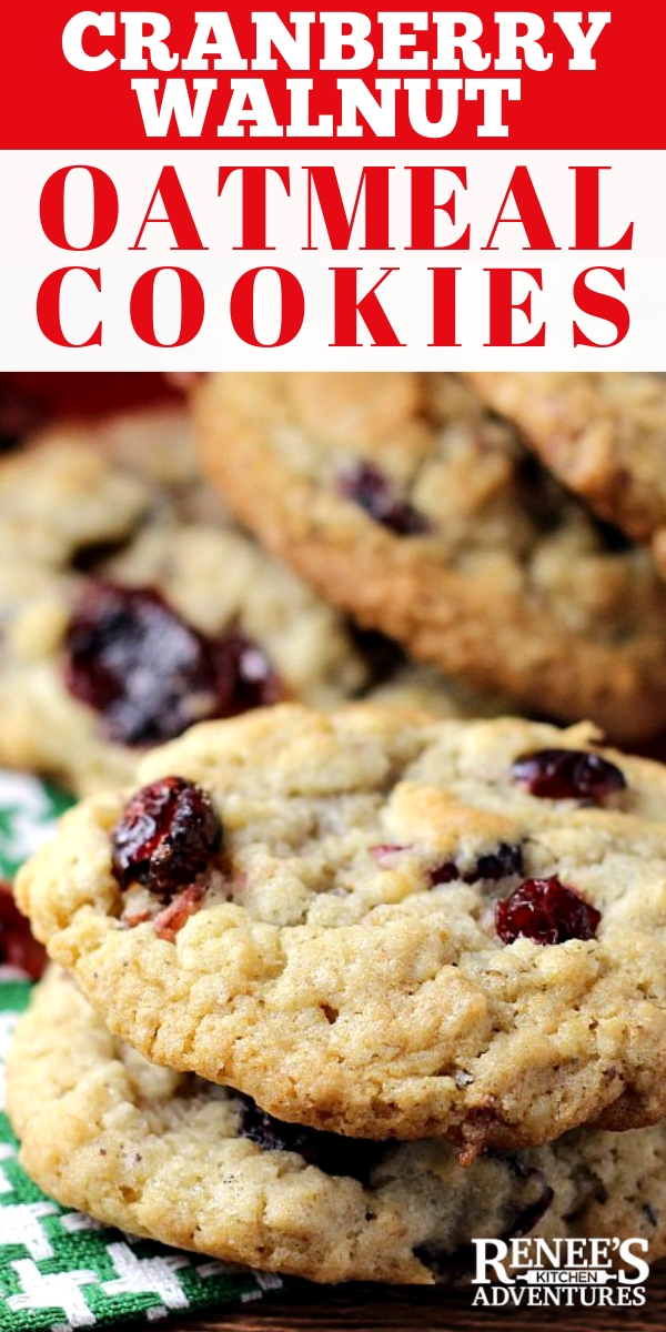 Oatmeal Cookies with Cranberries and Walnuts - easy drop cookie recipe for classic oatmeal cookies with dried cranberries and crunchy walnuts. A great addition to your holiday baking! Soft, dense, and chewy oatmeal cookies everyone loves!  #oatmealcookies