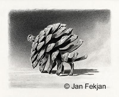 Bilde av digigrafiet 'Furukongle'. Digitalt trykk laget på bakgrunn av en tegning med kullblyant av en kongle. Illustrasjon av furukongle. Bildet er i svart-hvitt, og er i breddeformat.