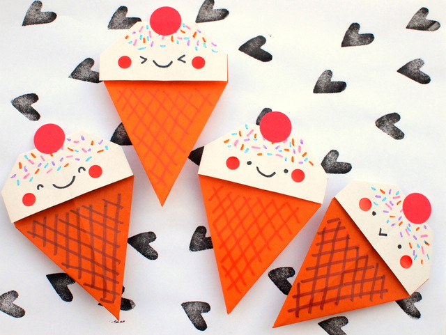 origami ice cream cone craft