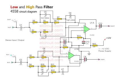 Low Pass Filter and High pass filter circuit diagram