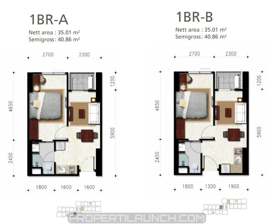 Denah Apartemen Permata Hijau Suites 1 BR