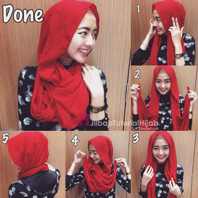 tutorial memakai pashmina simple style2