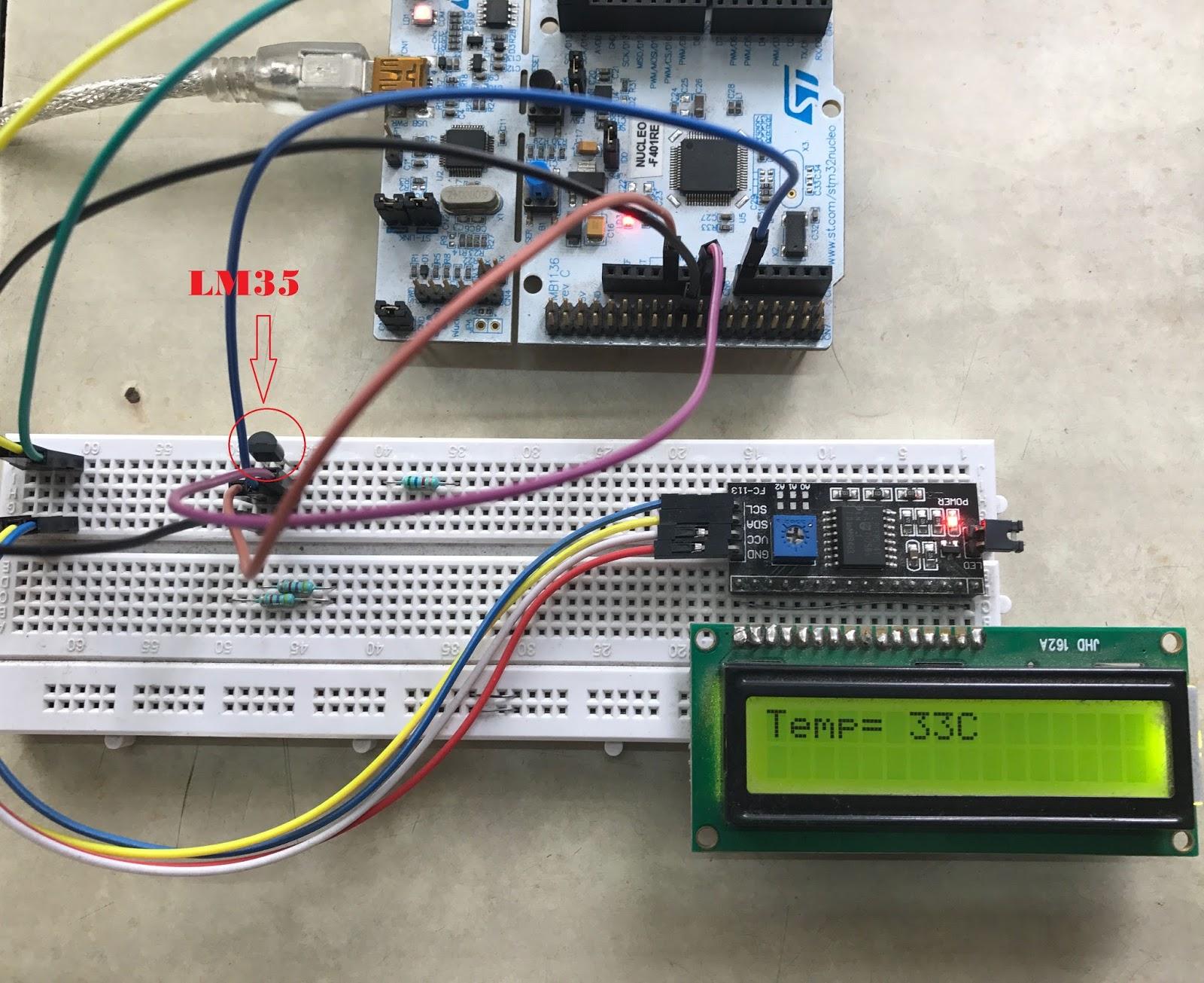 LM35 Temperature sensor using STM32 - CONTROLLERSTECH