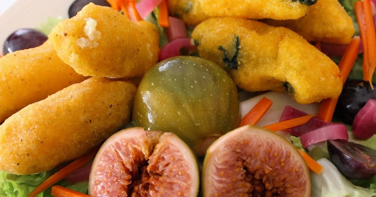 Garda in padella 2: frittini di lavarello allo zafferano e di bagoss alla pesteda con carpione di fichi