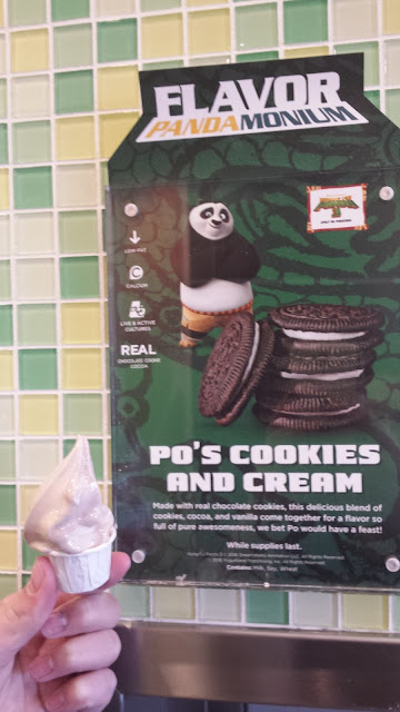 Po's Panda Cookies and Cream: The perfect combination of dark chocolate cookie and sweet center filling packed into smooth frozen yogurt.